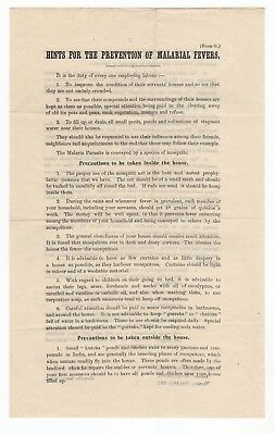 Printed Leaflet - Hints For The Prevention Of Malarial Fevers - India 1909