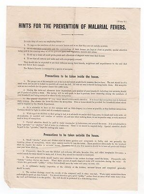 Printed Leaflet - Hints For The Prevention Of Malarial Fevers - India 1912
