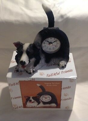 Faithful Friends Clock BORDER COLLIE Tabletop Wagging Tail Puppy Dog
