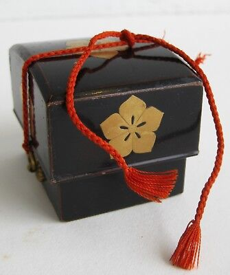 Fine Old Japanese Black Lacquer Wood Gilt Painted Floral Miniature Jewelry Box