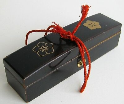 Fine Old Japanese Black Lacquer Wood Gilt Painted Floral Jewelry Box