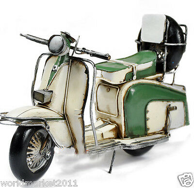 * European Antique Green Beige Mixed Iron Sheet Motorcycle Model/Collection