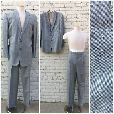 Vintage 50s Penny's Mens Grey Blue Fleck Hollywood Waist Drop Loop Pants Suit