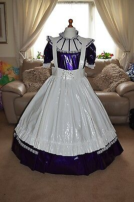 Amazing Long Purple PVC Adult Sissy Maids Dress With White Apron size xxl