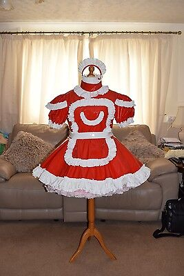 Amazing Red PVC Adult Sissy Maids Dress With White Trim size xxl