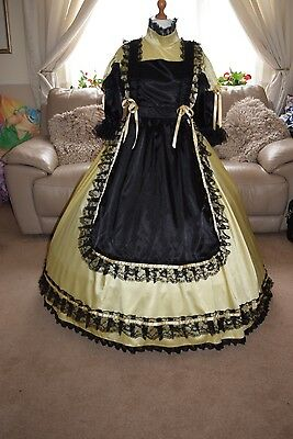 Amazing Long Yellow Satin Adult Sissy Maids Dress with Black Apron size xxl