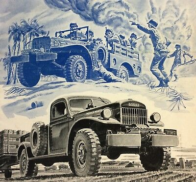 1946 Vintage Original DODGE Power-Wagon TRUCK ADVERTISING Brochure Poster WWII