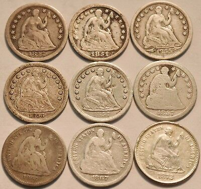 Lot of (9) Seated Liberty Half Dimes 1842 1857 O 1860 1867 S 1872 S Silver H10C