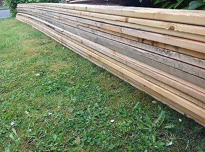 "RECLAIMED TIMBER PLANKS KICK BOARDS FENCING 5""X1"" x 22ft (7m) LONG EXC COND"