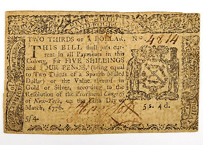 1776 New York $2/3 Note - March, 5th - 5s. 4d.