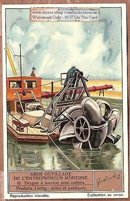 Suction Dredge With Cutters Heavy Equipment 1930s Trade Ad Card
