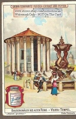 Temple of Vesta  Rome Italy Ruins Roman 1899 Trade Ad Card