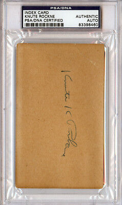 Knute Rockne Authentic Autographed Signed 3x5 Index Card Notre Dame PSA/DNA