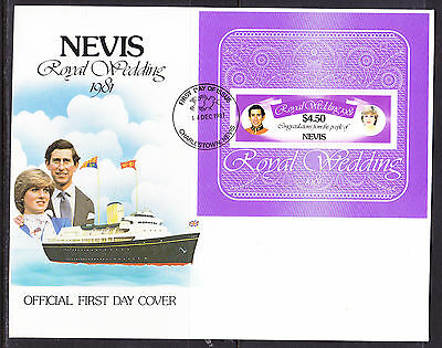 Nevis 1981 Royal Wedding - Charles & Diana Wedding -   MS First Day Cover