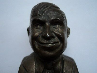 "Vintage Old Will Rogers Metal Paperweight Bust ""Erie Brings You Will Rogers"" NR"