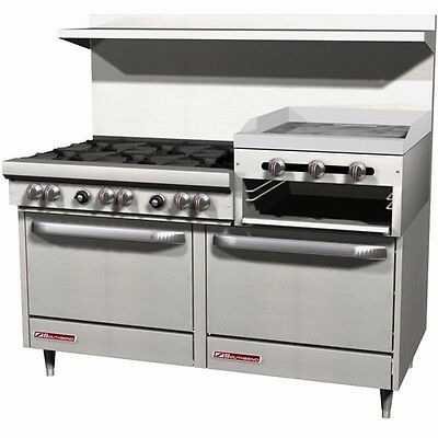 "S-Series Gas Range, 6 burners+Griddle, 2 std oven, 60"" wide, Southbend S60DD-2RR"