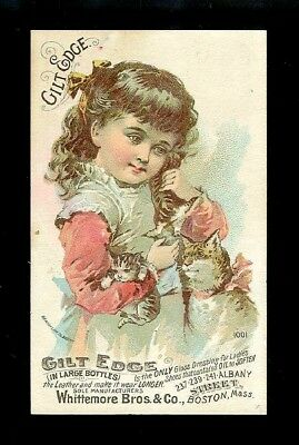 Little Girl W/ Mama Cat & Her Kittens-1880s Victorian Trade Card