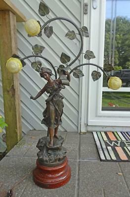 """Bronzed Spelter Newel Post Lamp Classical Figure Muse """"Melodie"""" Rancoluet c1900"""