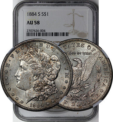 1884 S Morgan Dollar Silver Coin Ngc Au 58 Looks Unc Key Date