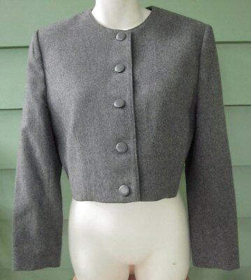 PENDLETON CROPPED PURE VIRGIN WOOL JACKET BLAZER Women's 12 Petite GRAY Vintage