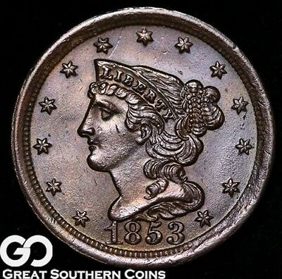 1853 Half Cent, Braided Hair, Super Sharp and Lustrous, Choice BU++/Near Gem BU