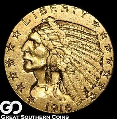 1916-S Half Eagle, $5 Gold Indian, Nice Better Date! ** Free Shipping!
