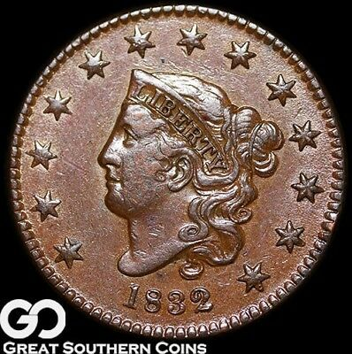 1832 Large Cent, Coronet Head, Scarce This Nice, Rare Coin! ** Free Shipping!