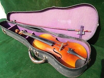 Antique 4/4 Strad Copy Label Violin with Germany Bow w/Case NICE!