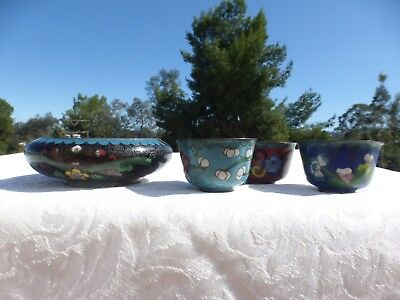 WONDERFUL Vintage CHINESE 4 PIECE Lot of ENAMEL Cloisonne Ashtray 3 Small Cups