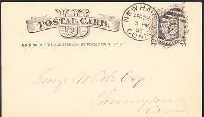 19th Century 1885 NEW HAVEN CONNECTICUT Postal History Cover (1500)