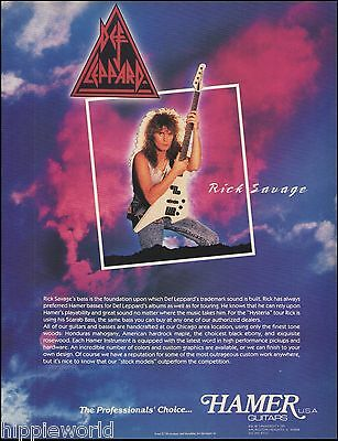 Def Leppard Rick Savage 1987 Hamer Scarab Bass Guitar ad 8 x 11 advertisement