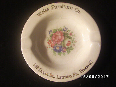 Vintage Weiss Furniture Co Latrobe Pa Advertising Ashtray