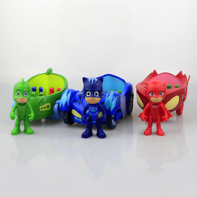 New Movable 3pcs/set PJ Masks Gekko Catboy Owlette Vehicle Car Kids Toys Figures