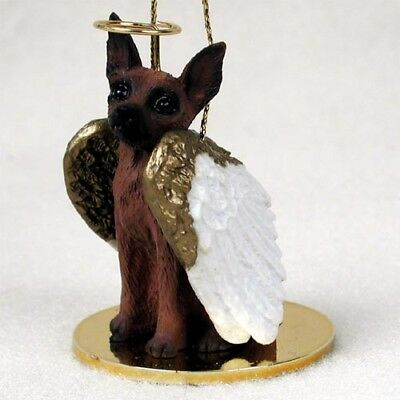 Miniature Pinscher Red Brown Dog ANGEL Tiny One Ornament Figurine Statue