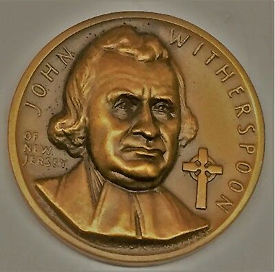 C3984   Medallic Art Co.   Bronze  Medal,  John  Witherspoon   New Jersey