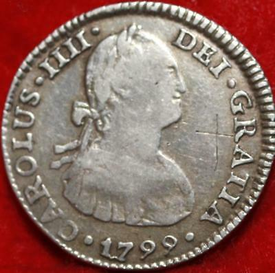 1799 Mexico 1 Reale Silver Foregin Coin Free S/H