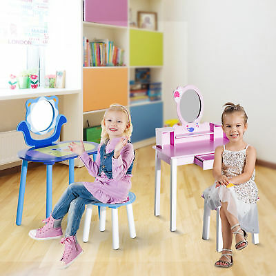 New Kids Wooden Dressing Table with Stool and Mirror Desk Set Toys 2 Style