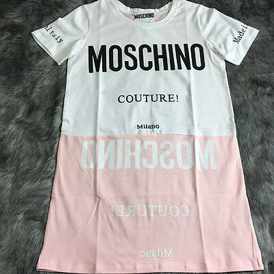 Women's Dress T Shirt Cotton Short Sleeves Pink White Characters Long (Size L)