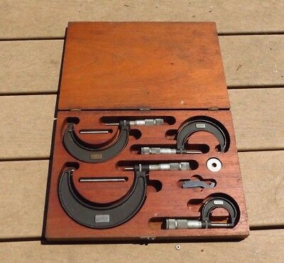 Lufkin Outside Micrometer Measurement Tool.Set 0-6 Inch w/ Wooden Case