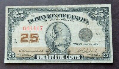 1923 Dominion Of Canada 25 Cents Bank Note, Circulated Condition, Lot#625