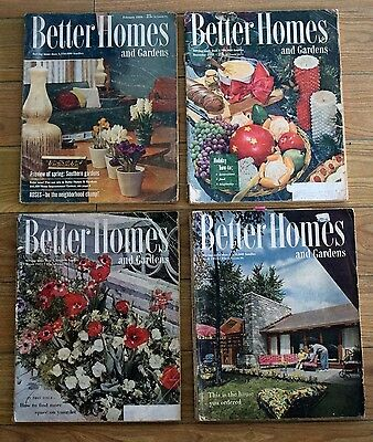 Vintage / Antique Lot Of 4 Better Homes & Gardens / House Ideas 1950's Magazines