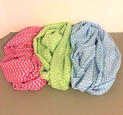 NEW Nice Assorted Colors Infinity Loop Chevron Pattern Scarves Pink Green Blue