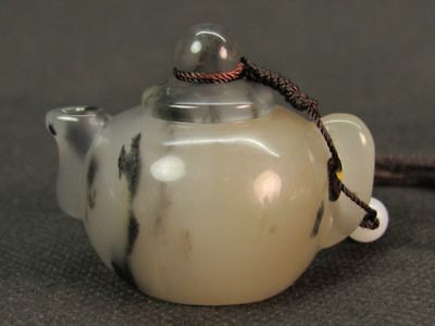 "Chinese ""Xing Jiang"" ""Jin Si"" Jade Carved Teapot Hand Pendant-Real Auction"