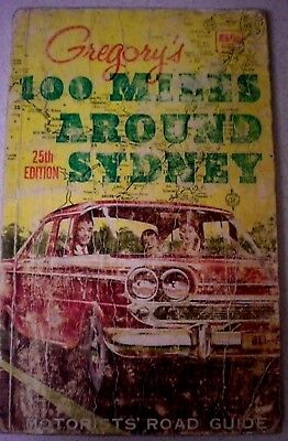 100 MILES AROUND SYDNEY - GREGORY'S 25th Edition c. 1950's Vintage Maps, Travel