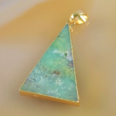Triangle Australia Natural Chrysoprase Pendant Bead Gold Plated T039535