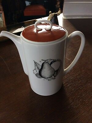 Vintage Susie Cooper Black Fruit Coffee Pot Pear & Apple Orange Lid