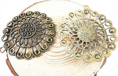 4pcs/lot Vintage Bronze Alloy Hollow Round Flower Pendants Charms Crafts 33049