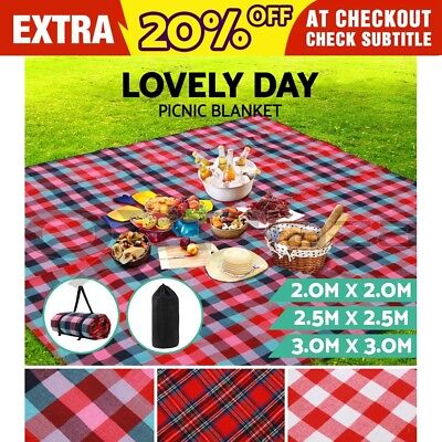 2m 2.5m 3m Extra Large Picnic Blanket Outdoor Mat Camping Waterproof Colourful
