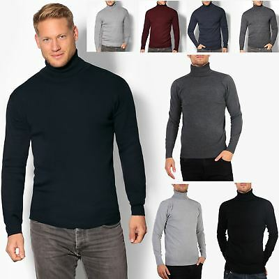 Mens Polo Turtle Neck Roll Jumper Cotton Knitwear Sweater Winter Pullover Top