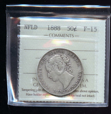 1888 Key Date Newfoundland 50 Cents ICCS Certified F15 Books: $240 B554